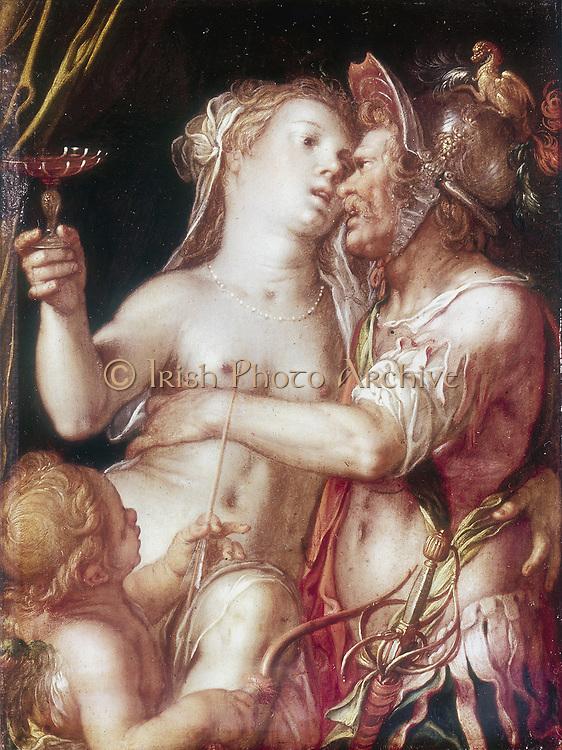 Mars and Venus'.   Roman god and goddess of War and Love. Joachim Anthonsiz Wittewael (1566-1638) Dutch painter and draughtsman.