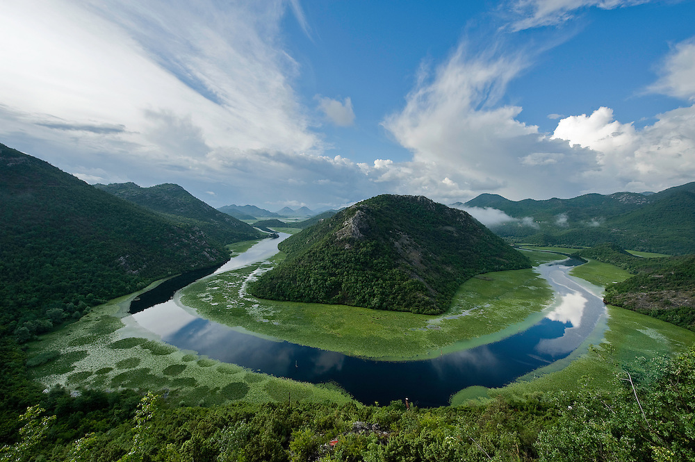 Landscape of Rijeka Crnojevica (Blacks' river), Lake Skadar National Park, Montenegro