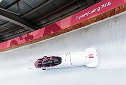 25.02.2018, Olympic Sliding Centre, Pyeongchang, KOR, PyeongChang 2018, 4er Bob, Herren, 3. Lauf, im Bild Maxim Andrianov, Alexey Zaitsev, Vasiliy Kondratenko, Ruslan Samitov (OAR) // Maxim Andrianov Alexey Zaitsev Vasiliy Kondratenko Ruslan Samitov (OAR) during the men's 4-man bob heat 3 for the Pyeongchang 2018 Winter Olympic Games at the Olympic Sliding Centre in Pyeongchang, South Korea on 2018/02/25. EXPA Pictures © 2018, PhotoCredit: EXPA/ Johann Groder
