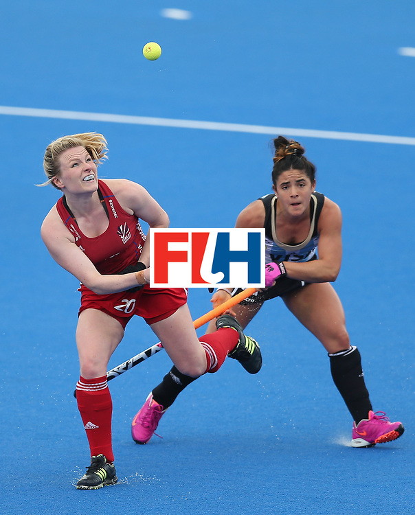 LONDON, ENGLAND - JUNE 18:  Hollie Webb of Great Britain and Maria Ganatto of Argentina during the FIH Women's Hockey Champions Trophy match between Argentina and Great Britain at Queen Elizabeth Olympic Park on June 18, 2016 in London, England.  (Photo by Alex Morton/Getty Images)