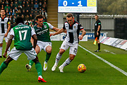 Lee Hodson of St Mirren under pressure during the Ladbrokes Scottish Premiership match between St Mirren and Hibernian at the Simple Digital Arena, Paisley, Scotland on 29th September 2018.