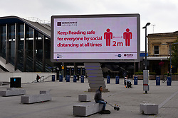 Large signage outside Reading Station showing new station pedestrian area. Easing of Coronavirus lockdown, Reading, UK 12 June 2020