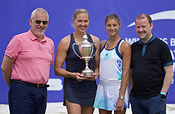 LIVERPOOL, ENGLAND - Sunday, June 23, 2019: Kaia Kanepi (EST) (L) with the Boodles & Dunthorne Trophy and runner-up Corinna Dentoni (ITA) with sponsors xxxx (L) and xxxx (R) after the Ladies' Final on Day Four of the Liverpool International Tennis Tournament 2019 at the Liverpool Cricket Club. Kanepi beat Dentoni 6-2, 6-2. (Pic by David Rawcliffe/Propaganda)