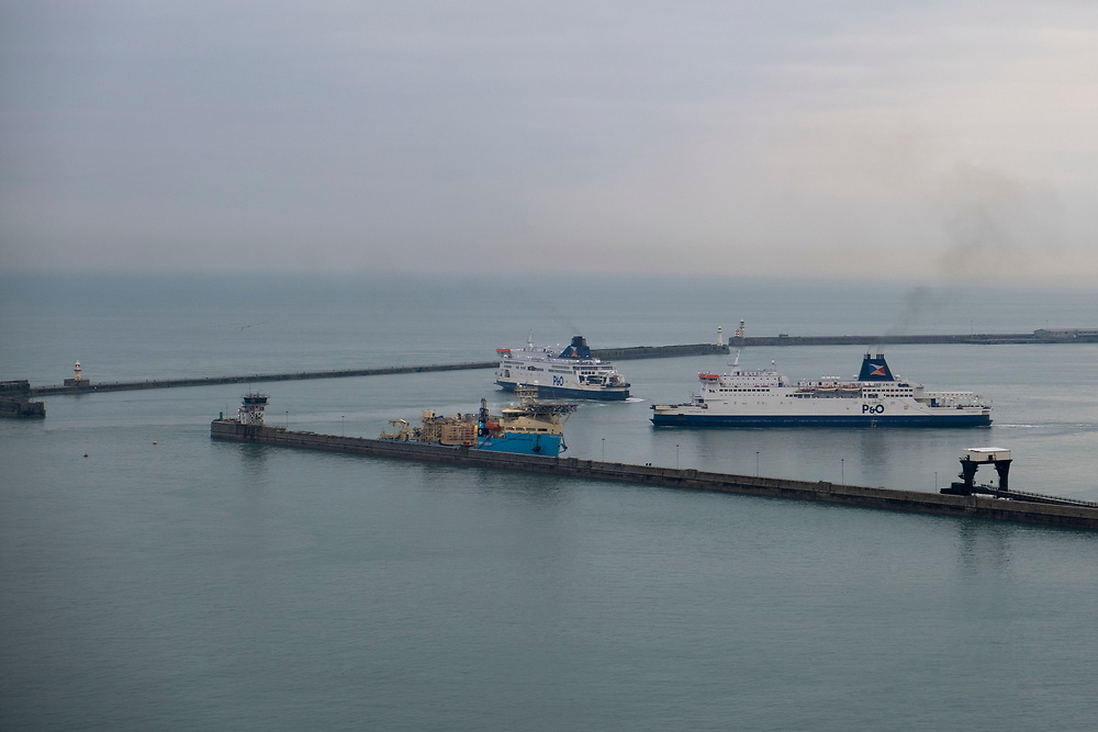 P&O ferries manoeuvre as one arrives and one departs in the Eastern Dock of the Port of Dover, where the cross channel port is situated with ferries departing here to go to Calais in France. Dover, Kent, United Kingdom.  Dover is the nearest port to France with just 34 kilometres (21 miles) between them. It is one of the busiest ports in the world. As well as freight container ships it is also the main port for P&O and DFDS Seaways ferries.  (photo by Andrew Aitchison / In pictures via Getty Images)