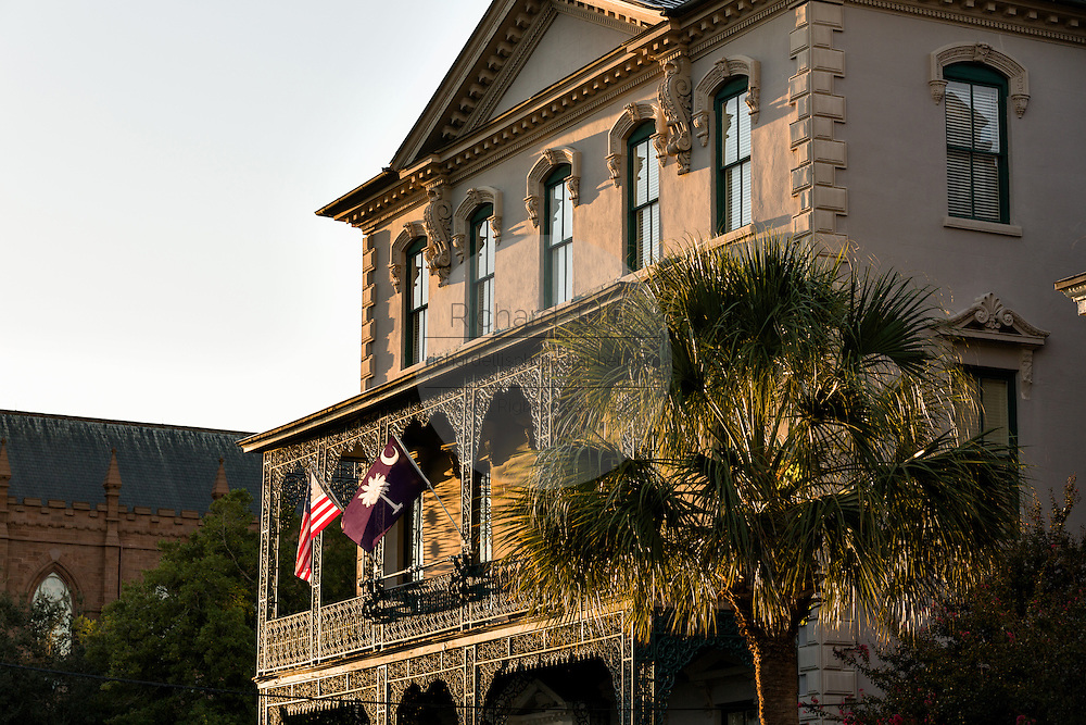 Rutledge House Inn at sunset along Broad Street in historic Charleston, SC.