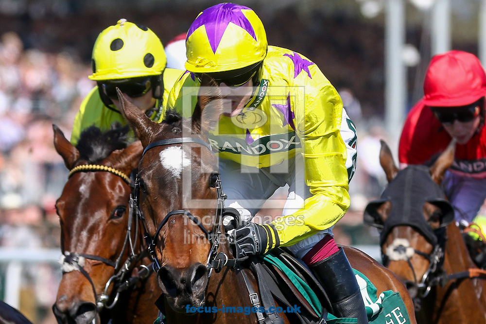 Fountains Windfall ridden by David Noonan (Yellow, purple stars) on the first circuit of the Gaskells Handicap Hurdle before winning on Grand National Day of the Randox Grand National Festival at Aintree Racecourse, Liverpool<br /> Picture by Mark Chappell/Focus Images Ltd +44 77927 63340<br /> 08/04/2017