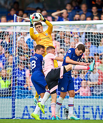 LONDON, ENGLAND - Sunday, August 18, 2019: Chelsea's goalkeeper Kepa Arrizabalaga catches a ball under pressure from Leicester City's Jamie Vardy during the FA Premier League match between Chelsea's  FC and Leicester City FC at Stamford Bridge. (Pic by David Rawcliffe/Propaganda)