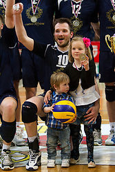 Luka Slabe of Kropa celebrates after the volleyball match between ACH Volley Bled and UKO Kropa at final of Slovenian National Championships 2011, on April 27, 2011 in Arena SGTS Radovljica, Slovenia. ACH Volley defeated Kropa 3-0 and became Slovenian National Champion 2011. (Photo By Vid Ponikvar / Sportida.com)