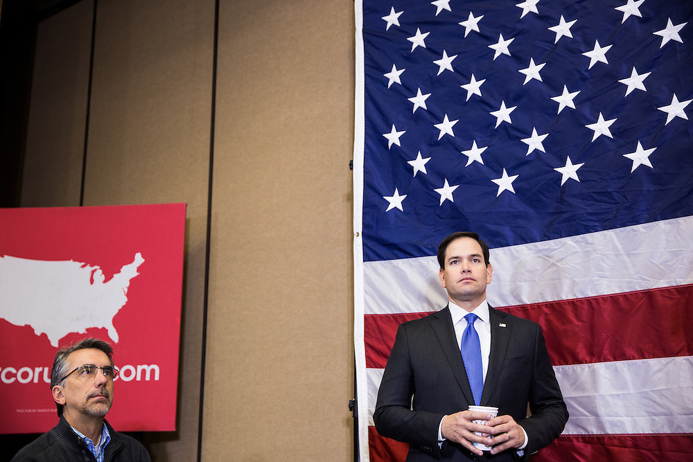 "CEDAR RAPIDS, IA - JANUARY 5, 2016:  Republican presidential candidate Sen. Marco Rubio, right, waits to be introduced at a ""town hall"" campaign event. CREDIT: Max Whittaker for The New York Times"