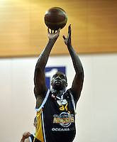 Akeem Wright takes a penalty, in the NBL match, between the Otago Nuggets and Hawkes Bay, Lion Foundation Arena, Edgar Centre, Dunedin, Otago, New Zealand, Friday, May 24, 2013. Credit: Joe Allison / Allison Images.