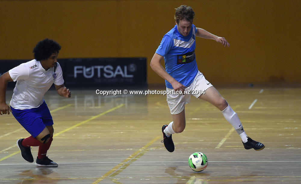 Dylan Cozens in action for Central Futsal Hawkes Bay v AFF Futsal. National Futsal League, Series 3. ASB Stadium, Auckland, New Zealand. Friday 5 December 2014. Photo: Andrew Cornaga/photosport.co.nz