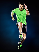 one caucasian man runner running jogger jogging isolated on black background