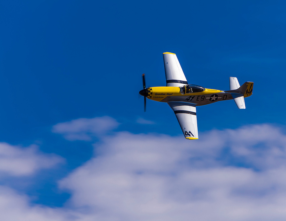 """The Thunder Mustang """"Guardian Angel"""", flown by Scott Nelson in the Sport class Gold Race, Sunday afternoon at Reno."""