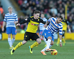 Reading's Daniel Williams is challenged by Watford's Sean Murray - Photo mandatory by-line: Nigel Pitts-Drake/JMP - Tel: Mobile: 07966 386802 11/01/2014 - SPORT - FOOTBALL - Vicarage Road - Watford - Watford v Reading - Sky Bet Championship
