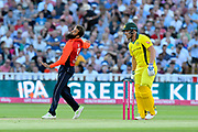 Moeen Ali of England bowling during the International T20 match between England and Australia at Edgbaston, Birmingham, United Kingdom on 27 June 2018. Picture by Graham Hunt.