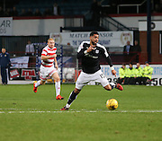 Dundee&rsquo;s Kane Hemmings races towards the empty net to score the second of his hat-trick - Dundee v Hamilton, Ladbrokes Premiership at Dens Park<br /> <br />  - &copy; David Young - www.davidyoungphoto.co.uk - email: davidyoungphoto@gmail.com