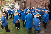 Spirit of the Streets choir and Bernard Carney preparing for the opening performance of the 2019 Guildford Songfest