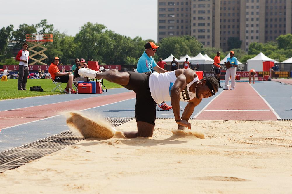Samsung Diamond League adidas Grand Prix track & field; men's long jump, Nafee Harris, USA, injured on jump
