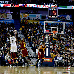 Jan 23, 2017; New Orleans, LA, USA; New Orleans Pelicans guard Jrue Holiday (11) shoots over Cleveland Cavaliers guard Kyrie Irving (2) during the second quarter of a game at the Smoothie King Center. Mandatory Credit: Derick E. Hingle-USA TODAY Sports