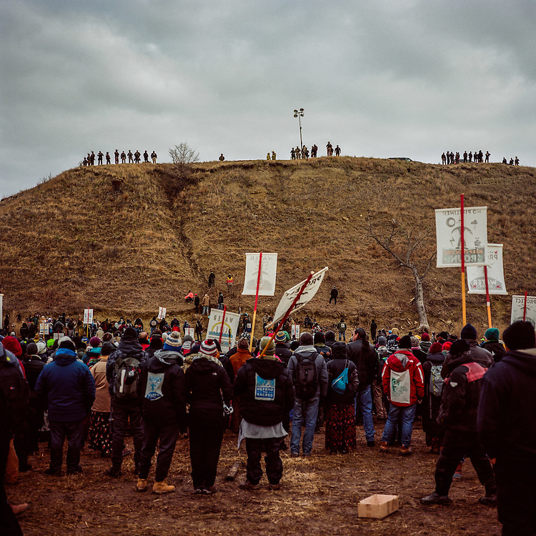 CANNON BALL, NORTH DAKOTA - NOVEMBER 24, 2016: On Thanksgiving Day in 2016, protesters gathered near Turtle Island to protest the Dakota Access Pipeline where the DAPL security and the Morton County Sheriff's Department were stationed.