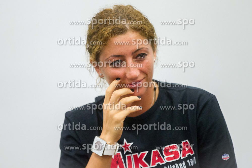 Patricia Vizitiu of Romania during press conference of RK Krim Mercator before new women handball season 2013/14 on July 30, 2013 in Arena Stozice, Ljubljana, Slovenia.  (Photo by Vid Ponikvar / Sportida.com)