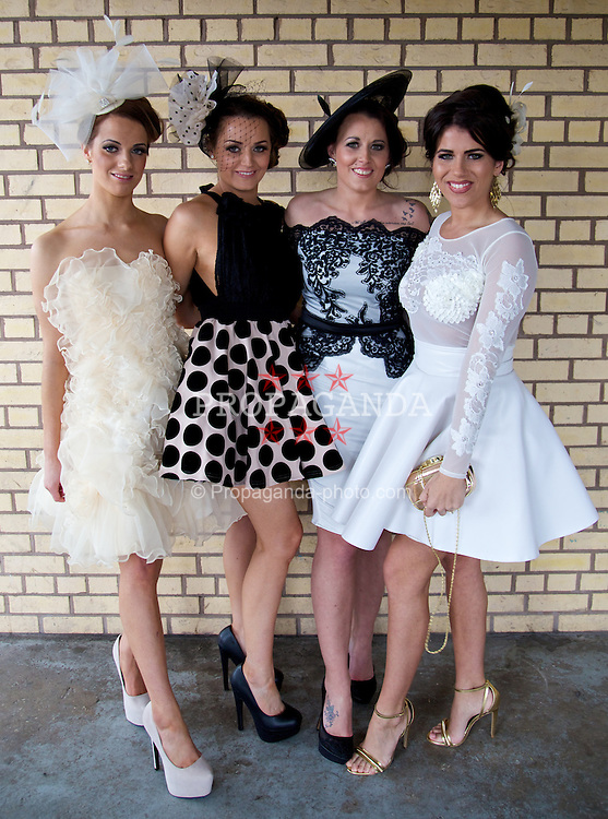 LIVERPOOL, ENGLAND - Friday, April 4, 2014: Joni Talbot, Chloe Talbot, Toni Fitzjohn, Emilee Price during Ladies' Day on Day Two of the Aintree Grand National Festival at Aintree Racecourse. (Pic by David Rawcliffe/Propaganda)