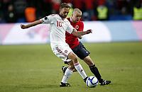 Fotball  , 26. mars 2011 , EM-kvalifisering<br /> Norge - Danmark<br /> <br /> Euro-qual.<br /> Norway - Denmark<br /> Dennis Rommedahl , Danmark <br /> Christian Grindheim , Norge