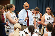 Essex head coach Shawn Montague talks to the team during a time out during the girls basketball game between the St. Johnsbury Hilltoppers and the Essex Hornets at Essex high school on Tuesday night January 5, 2016 in Essex. (BRIAN JENKINS/for the FREE PRESS)