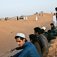 Thousands of young men head to the desert on the weekend. Riyadh offers them little in the way of entertainment, with no movie theaters and very few sports facilities. Single men are not even allowed to enter the malls where women shop. March 2008.