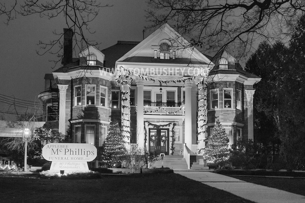 Middletown, New York - The Applebee-McPhillips Funeral Home with Christmas decorations on Dec. 11, 2016.