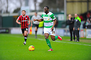 Yeovil Town's Francois Zoko during the Sky Bet League 2 match between Yeovil Town and Oxford United at Huish Park, Yeovil, England on 28 December 2015. Photo by Graham Hunt.