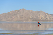 Stand up paddle boarding in the Black Rock desert, Nevada, home of Burning Man filled with water at the end of May, 2017