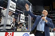 Bob Miller waves to the fans from the ice after his last home game as broadcater for the Kings. The Los Angeles Kings defeated the Chicago Blackhawks 3-2 as Bob Miller called his last game at Staples Center in Los Angeles, CA. 4/8/2017 Photo by John McCoy/Los Angeles Daily News (SCNG)