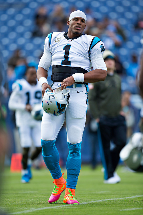 NASHVILLE, TN - NOVEMBER 15:  Cam Newton #1 of the Carolina Panthers warming up before a game against the Tennessee Titans at Nissan Stadium on November 15, 2015 in Nashville, Tennessee.  (Photo by Wesley Hitt/Getty Images) *** Local Caption *** Cam Newton
