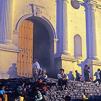 Central America, Latin America, Guatemala, Chichicastenango. Shady steps provide down time on market day.