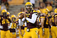TEMPE, AZ - SEPTEMBER 03:  Quarterback Manny Wilkins #5 of the Arizona State Sun Devils warms up prior to the game against the Northern Arizona Lumberjacks at Sun Devil Stadium on September 3, 2016 in Tempe, Arizona. The Sun Devils won 44-13.  (Photo by Jennifer Stewart/Getty Images)