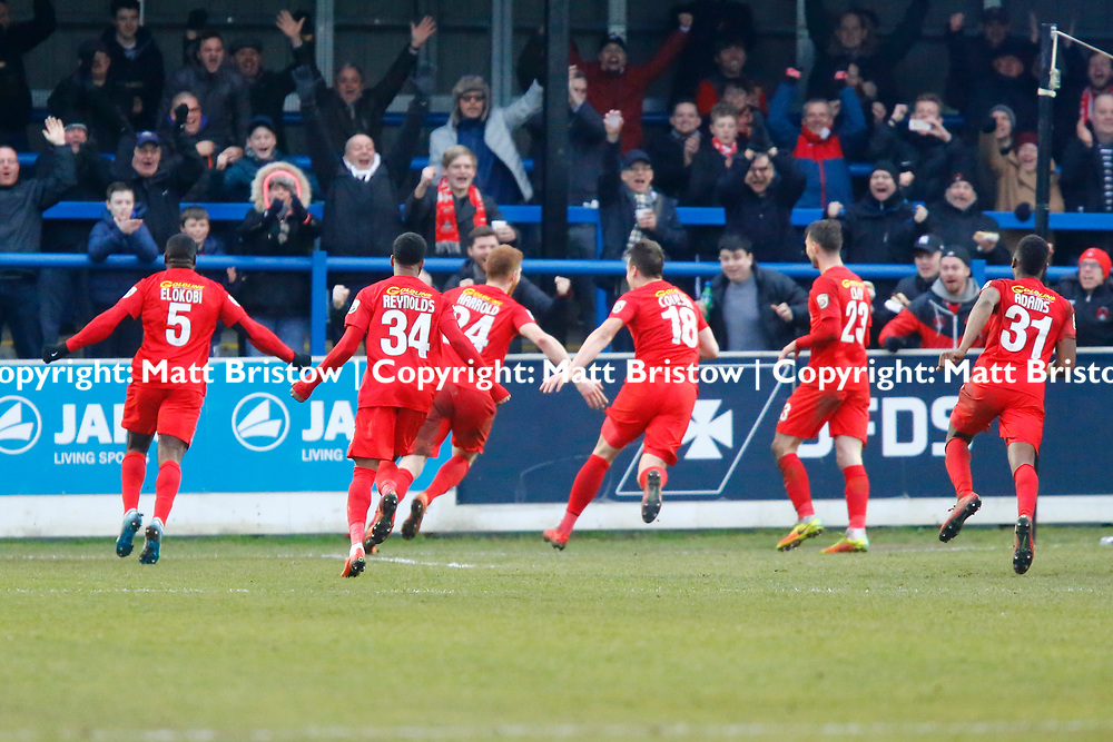 Leyton Orient's forward Matt Harrold wheels away after scoring the O's third goal during the The FA Trophy match between Dover Athletic and Leyton Orient at Crabble Stadium, Kent on 3 February 2018. Photo by Matt Bristow.