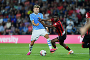 Jefferson Lerma of AFC Bournemouth battles with Ciro Immobile of Lazio during the Pre-Season Friendly match between Bournemouth and SS Lazio at the Vitality Stadium, Bournemouth, England on 2 August 2019.