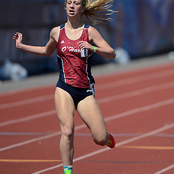 Staff photos by Tom Kelly IV<br /> Cardinal O'Hara had three runners who happen to be sisters in the top four seeds of the girls AAA 1600m run during the District 12 track and field championships in Philadelphia, Thursday afternoon.  Here, Grace Mancini crosses the finish line in first place.