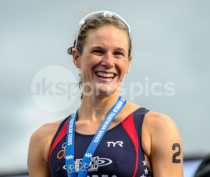Katie Zaferes (USA) on the podium for her second place of The ITU Vitality World Triathlon at Hyde Park, London, England on 31 May 2015. Photo by Salvio Calabrese.