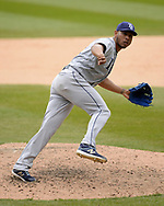 CHICAGO - APRIL 09:  Wilmer Font #62 of the Tampa Bay Rays pitches against the Chicago White Sox on April 9, 2019 at Guaranteed Rate Field in Chicago, Illinois.  (Photo by Ron Vesely)  Subject:   Wilmer Font