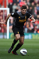 Picture by Daniel Chesterton/Focus Images Ltd +44 7966 018899.16/03/2013.Steven Gerrard of Liverpool in action during the Barclays Premier League match at the St Mary's Stadium, Southampton.