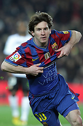 14.03.2010, Camp Nou, Barcelona, ESP, Primera Divison, FC Barcelona vs Valencia, im Bild  Barcelona's player Lionel Messi jubelt über sein Tor, EXPA Pictures © 2010, PhotoCredit: EXPA/ Alterphotos