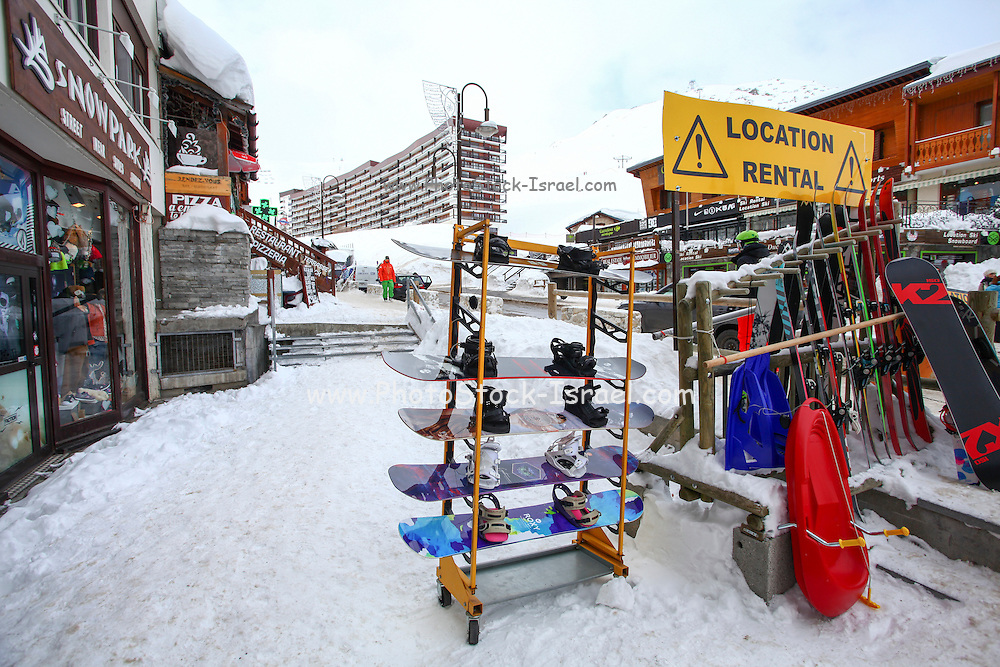 Tignes, France, Ski resort. Ski rental shop