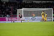Northampton Town midfielder Lawson D'Ath Scores the first goal during the Sky Bet League 2 match between Northampton Town and Yeovil Town at Sixfields Stadium, Northampton, England on 28 November 2015. Photo by Dennis Goodwin.