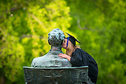 Kissing Abe Lincoln at the University of Wisconsin-Madison. (Photo © Andy Manis)