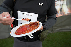 UK ENGLAND 29JUL17 - Bacon, baked beans and a sausage for breakfast ahead of the Trailwalker 2017 challenge in Petersfield, South Downs, England.<br /> <br /> jre/Photo by Jiri Rezac<br /> <br /> © Jiri Rezac 2017
