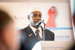 13 September 2017, New York, USA: On Gathering at the Yale Club in New York on 13 September for an interfaith prayer breakfast, faith leaders from a multitude of religions came together to support a coordinated faith-based effort in responding to HIV. The event was hosted by the World Council of Churches–Ecumenical Advocacy Alliance (WCC-EAA) in collaboration with UNAIDS, the United States President's Emergency Plan for AIDS Relief and the United Nations Interagency Task Force on Religion and Development on the side-lines of the 72nd session of the United Nations General Assembly. Here, Imam Abdul Azeez.
