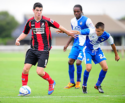 Bristol Rovers' U18s Camen Harvey stays with his man - Photo mandatory by-line: Dougie Allward/JMP - Tel: Mobile: 07966 386802 17/08/2013 - SPORT - FOOTBALL - Bristol Rovers Training Ground - Friends Life Sports Ground - Bristol - Academy - Under 18s - Youth - Bristol Rovers U18s V Bournemouth U18s