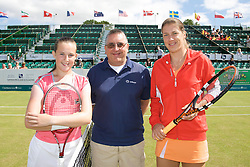 LIVERPOOL, ENGLAND - Tuesday, June 10, 2008: L-R: Chloe Murphy (GBR) Umpire Kevin Pryce and Olga Savchuk (UKR) during the opening day of the Tradition-ICAP Liverpool International Tennis Tournament at Calderstones Park. (Photo by David Rawcliffe/Propaganda)